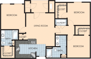 3 Bed / 2 Bath / 1,396 sq ft / Rent: $1,945